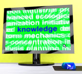Knowledge Word On Computer Showing Wisdom And Learning — Stock Photo
