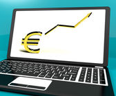 Euro Sign And Up Arrow On Computer For Earnings Or Profit — Stock Photo