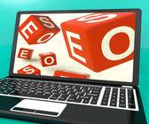 Seo Dice On Laptop Showing Online Web Optimization — Stock Photo