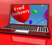 Free Delivery Balloons On Computer Showing No Charge Or Gratis T — Stock Photo