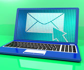Email Icon On Laptop Showing Emailing Or Contacting — Stock Photo