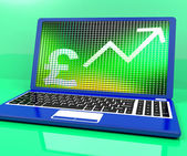 Pound Sign And Up Arrow On Laptop For Earnings Or Profit — Stock Photo