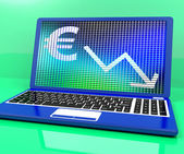 Euro With Arrow Down Showing Recession And Economic Downturn — Stock Photo