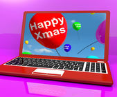 Red Balloons With Happy Xmas On Computer For Online Greetings — Stock Photo