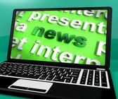 Parola di notizie sul portatile mostra media e informazioni — Foto Stock