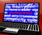 Multimediální slovo na notebook zobrazující technologie pro filmy — Stock fotografie