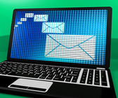 Email Icon On Laptop Shows Emailing Or Contacting — Stock Photo