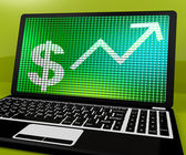 Dollar Sign And Up Arrow On Laptop For Earnings Or Profit — Stock Photo