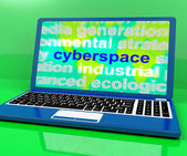 Cyberspace Definition On Laptop Shows Internet — Stock Photo