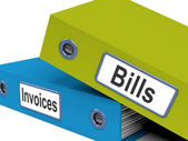 Bills And Invoices Files Show Accounting And Expenses — Stock Photo