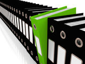 Green File Amongst Black For Getting Office Organized — Stock Photo