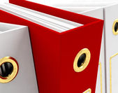Red File Amongst White Closeup For Getting Office Organized — Stock Photo