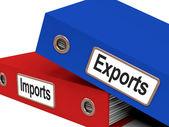 导出和导入文件显示国际贸易或全球 co — 图库照片