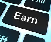 Earn Computer Key Showing Working And Earning — 图库照片