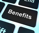 Vorteile-taste anzeigen bonus vergünstigungen oder belohnt — Stockfoto