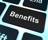 Benefits Key Showing Bonus Perks Or Rewards — Stock Photo