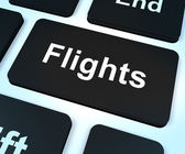 Flights Computer Key For Overseas Vacation Or Holiday Booking — Stock Photo