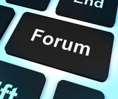 Forum Computer Key For Social Media Community Or Information — Stock Photo