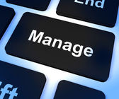 Manage Key Showing Leadership Management And Supervision — Stock Photo