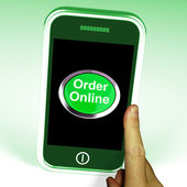 Order Online Button On Mobile Shows Buying On The Web — Stock Photo