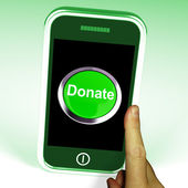 Donate Button On Mobile Shows Charity And Fundraising — Stock Photo