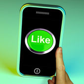 Like Button On Mobile Shows Approval And Being A Fan — Stock Photo
