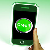 Credit Button On Mobile Shows Finance Or Loan For Purchases — Stock Photo