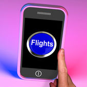 Flights Button On Mobile Shows Overseas Vacation Or Holiday — Stock Photo