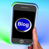 Blog Button On Mobile Shows Blogger Or Blogging Website — Stock Photo