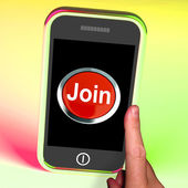 Join Button On Mobile Shows Subscription And Registration — Stock Photo