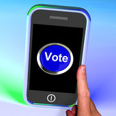 Vote Button On Mobile Shows Options Or Choices — Stock Photo