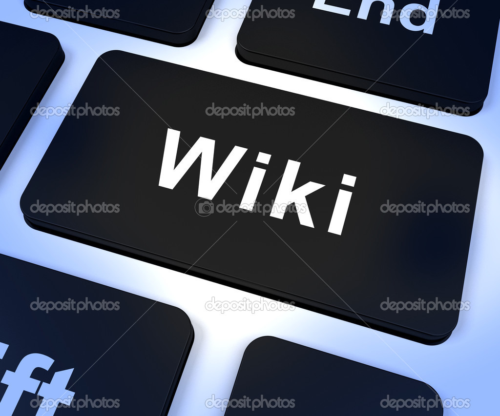 Wiki Computer Key Shows Online Information And Encyclopedia  Stock Photo #12653005
