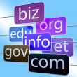 Blue Url Words Shows Org Biz Com Edu — Stock Photo #15694655