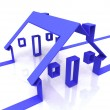 Stock Photo: Blue House Symbol Shows Real Estate Or Rentals