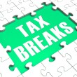Jigsaw Puzzle Shows Tax Breaks — Stock Photo