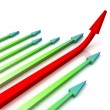 Red Right Arrow Ahead Shows Growth — Stock Photo