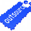 Outsource Puzzle Showing Subcontract And Employment - Foto Stock