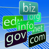 Green Url Words Shows Org Biz Com Edu — Stock Photo