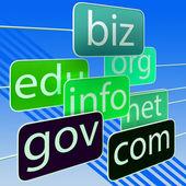 Groene url woorden toont org biz com edu — Stockfoto