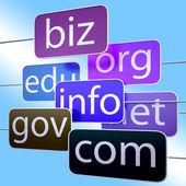 Blauwe url woorden toont org biz com edu — Stockfoto