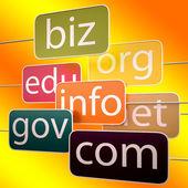 Oranje url woorden toont org biz com edu — Stockfoto