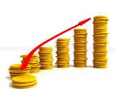 Münze stacks zeigt steigende gewinn — Stockfoto