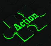 Action Puzzle Showing Motivation And Activism — Stock Photo