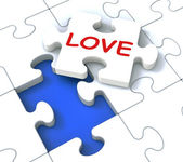 Love Puzzle Shows Loving Couples — Stock Photo