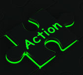 Action Puzzle Shows Acting And Expressions — Stock Photo