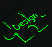 Design Puzzle Shows Conceptual Artwork — Stock Photo