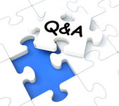 Q&A Puzzle Shows Frequently Asked Questions — Stock Photo