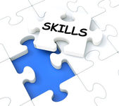 Skills Puzzle Shows Aptitudes And Talents — Stock Photo