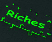 Riches Puzzle Showing Wealth And Big Earnings — Stock Photo