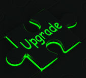 Upgrade Puzzle Showing Updating Versions — Stock Photo